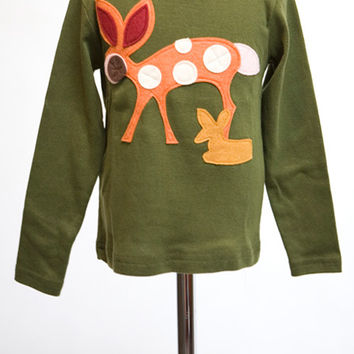Olive Doe a Deer Felt Applique Tee or Onesuit