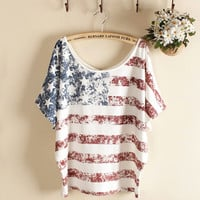 White Vintage Old American Flag Printe Short-sleeve T-shirt