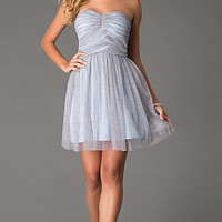 Short Strapless Glitter Dress