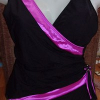 Longitude Black & Pink One Piece Womens Swimsuit Size 12