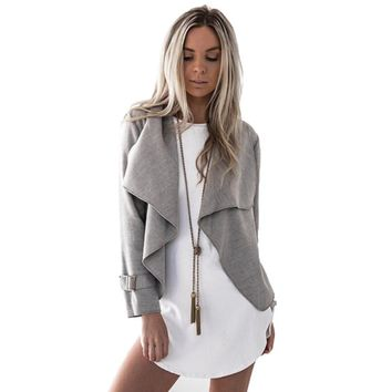 Women Crop Coat Jacket Outwear Grey Camel Solid Color Casual Coat Long Sleeve Turn-down Collar Loose Coat Autumn Winter Jackets