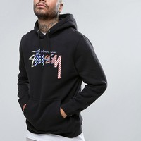 Stussy Hoodie With Checker Logo at asos.com