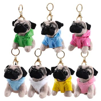 RYRY 13cm 7 colors cute plush puppy bag pendant dolls dog keychains for friend gift toy 2018 new year gift