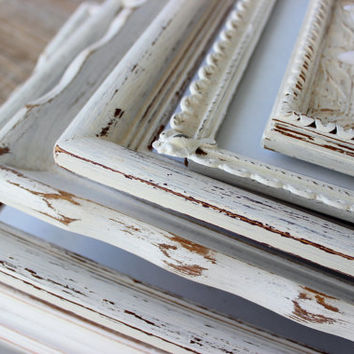 Vintage Shabby Chic Mixed Frame Gallery Collection of 7 , Distressed White Frames for Paris Apartment Decor & Wedding Decoration