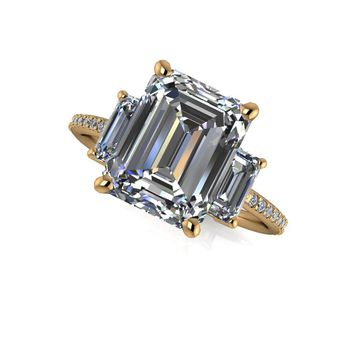 Clearance Three Stone Ring - Emerald Cut Engagement Ring - 18 Yellow Gold Ring