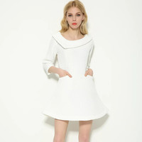 3/4 Sleeve Lapel A-Line White Dress With Pockets