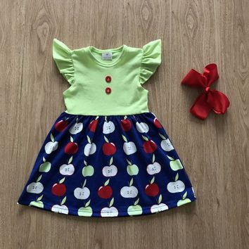2018 girls back to school boutique dress apple print pearl dress New  Boutique apple Design Girl dress matching Headbow