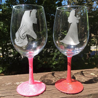 Aurora etched wine glass with glittered stem inspired by Disney's Sleeping Beauty