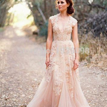 Vestidos De Novia Deep V Cap Sleeves Pink Wedding Dresses UK Lace Applique Tulle Sheer Cheap Vintage A Line Blush Wedding Gowns