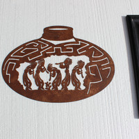 Kokopelli Dancers on Large Pot Metal Wall Art