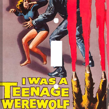 Light Switch Cover - Light Switch Plate  I Was A Teenage Werewolf Vintage Movie Poster