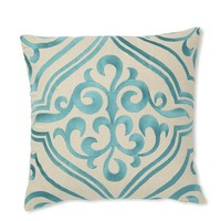"""D.L. Rhein Tile Embroidered Linen 16"""" x 16"""" Pillow - Turquoise"""