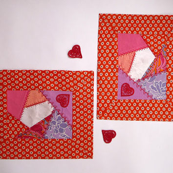 "Two Placemats quilt ""Love"", Embroidered Placemat,  home and living, wedding gift, vintage style, Valentine's Day, patchwork, crazy quilt"