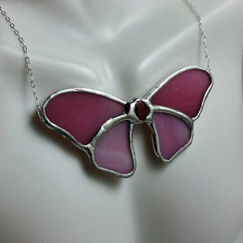 Butterfly Necklace, Statement Necklace, Stained Glass Butterfly Necklace, Pink Glass Pendant, Crystal Necklace, Stained Glass Jewelry