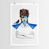 Jen Rome's Blue Girl Black Bird POSTER