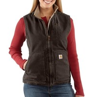 Carhartt Women's Sandstone Mock Neck Vest Sherpa Lined Dark Brown