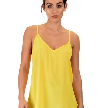 Lyss Loo What's Strap-Pening Cross Back Straps Yellow Tank Top