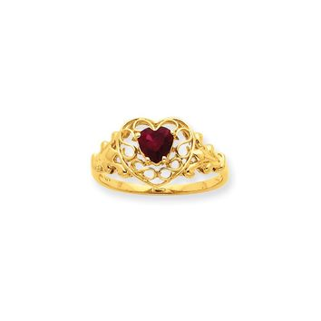 10k Yellow Gold Polished Garnet Birthstone Ring