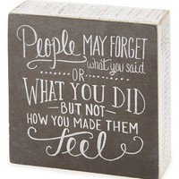 Primitives by Kathy 'People May Forget' Chalk Box Sign