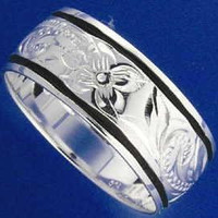 8MM SILVER 925 HAWAIIAN RING PLUMERIA SCROLL BLACK ENAMEL BORDER SIZE 3 - 14