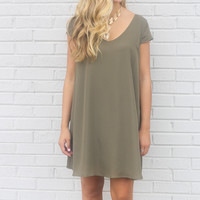 Champagne Toast Olive V-Neck Chiffon Cap Sleeve Shift Dress