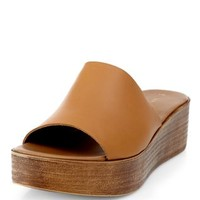 Tan Leather Wooden Sole Mules