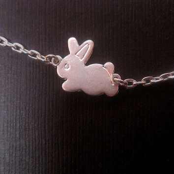 Silver Rabbit Necklace - Bunny Necklace - Animal Necklace