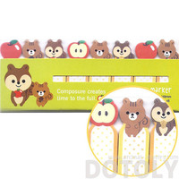 Chipmunk Squirrels and Apples Shaped Sticky Memo Post-it Index Bookmark Tabs | Cute Animal Themed Affordable Stationery