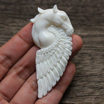 Pegasus  - Horse, Feathers, Wing, Fly, Flight Charm, Hand Carved Bone Heavenly, Divine, Goddess, Jewelry Setting Piece, Handmade