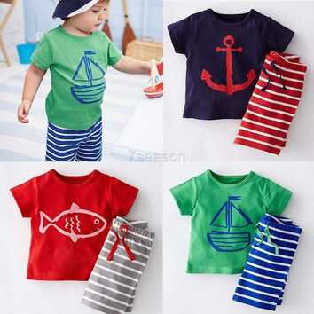 Kids Boys Cotton Print  O-neck T-shirt & Striped Shorts Outfits Sets F. 1-5Y W3L 7_S