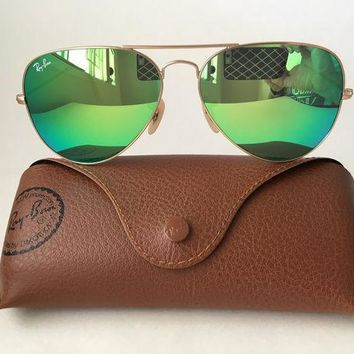 MDIGONT Ray Ban Aviator RB3025 112/19 58mm Sunglasses Gold With Green Mirror Lens