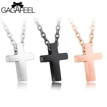 Gagafeel Jesus Cross Necklace Jewelry For Woman Gift Stainless Steel Choker Silver Gold Black Color Pendant Accessories