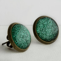 Evergreen Post Earrings in Antique Bronze - Green Glitter Earrings