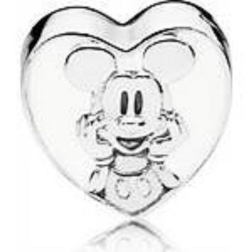 Pandora Charms, Disney Vintage Mickey Bracelet Clip White Enamel #797169EN12, Authentic