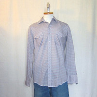 Vintage 70s PLAID COUNTRY WESTERN Medium Soft Thin Snap Button Poly Cotton Cowboy Shirt