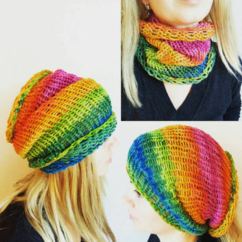 Rainbow Dread Tube Dredlocks Accessories Dread Hat Colorful Dreadlock Tube Hat Dreadlock Headband Tam Hat Wide Hair Wrap Gypsy Headband