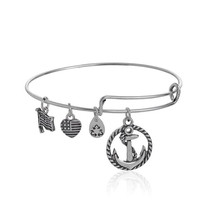 "Alex Bangle Bar ""Nautical"" Anchor Charm Expandable Bracelet, 7.75"" AL-10 and Ani"
