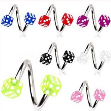 ac DCCKO2Q Isayoe Free Shipping Acrylic Dice Spiral Twister Rings tragus ring Lip Ring nose ring Earring Labret Body Piercing Jewelry