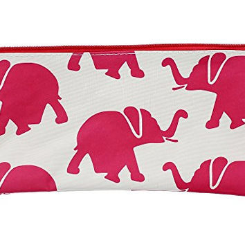 "Cosmetic Travel Bag Pouch and Pen/Pencil Holder For School - Light Magenta Elephants- 10.5"" x 5.5"""