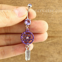 Dream catcher Belly Button Rings, Purple Dream Catcher Belly Button Jewelry ,Tribal Belly Ring