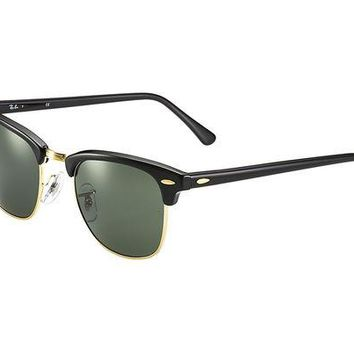 DCCKFC9 Ray Ban Clubmaster Classic RB3016 W0365-49-21 Sunglasses Black Frame Crystal Green Solid Lenses
