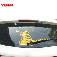 YIKA Funny Cute Cartoon Cat Decoration Moving Tail Stickers Auto Vehicle Window Wiper Decals Car Outside Styling Decoration
