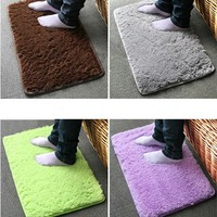 Plush Velvet Slip Mats And Dust Doormat Absorbent Bathroom Floor Rug Washable/Can Be Cleaned Bath Mat/Bathroom Floor Rugs