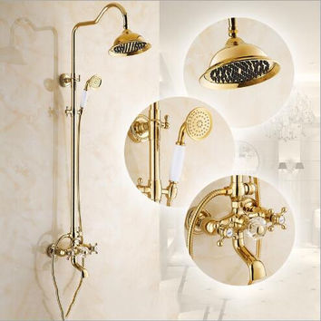 Luxury New Arrival Gold Brass Rainfall Shower Set Faucet  Tub Mixer Tap with Ceramic Hand held Shower Bath and shower faucet