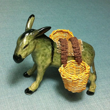 Miniature Ceramic Donkey Horse Woven Baskets Animal Cute Little Tiny Small Black Figurine Statue Decoration Hand Painted Craft Collectible