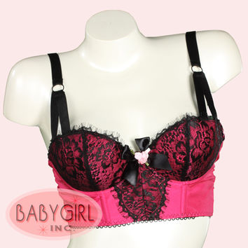 Lightly Padded Underwire Retro Longline Bra with Black Lace Overlay in Radiant Rose