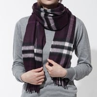 VONE05 New Authentic BURBERRY Scarf 3994302-aubergine Women's