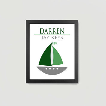 Nursery Print Nautical Green Gray White Navy Sailboat Baby Boy, Personalized Name 8x10 Digital Download Wall Art Decor Print