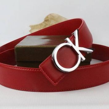 CK Woman Men Fashion Smooth Buckle Leather Belt