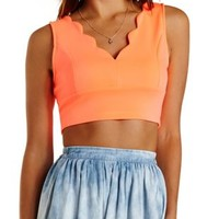 Scalloped Scuba Knit Crop Top by Charlotte Russe